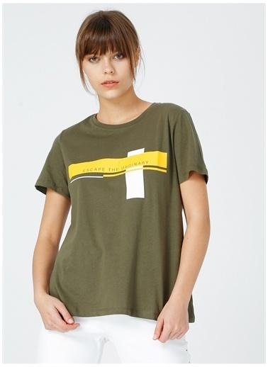 Fabrika Fabrika Kadın Haki Bisiklet Yaka T-Shirt Haki
